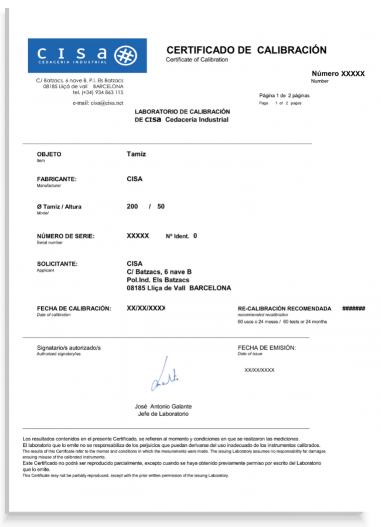 Certificado de calibracion de tamices