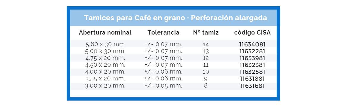 Tamices para café en grano en perforación alargada