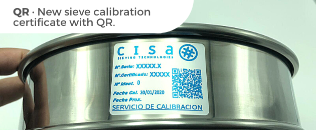 New sieve calibration certificate with QR.