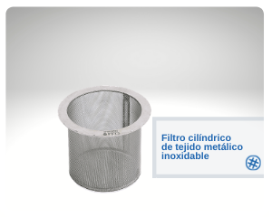 Filtro cilíndrico de tejido metálico inoxidable